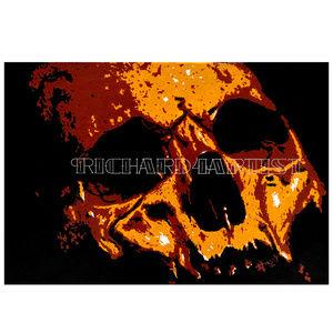NWT Skull Art PRINT Gothic Black Decor Dark Orange